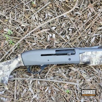 Benelli 12 Gauge Shotgun Cerakoted Using Matte Ceramic Clear, Graphite Black And Tungsten