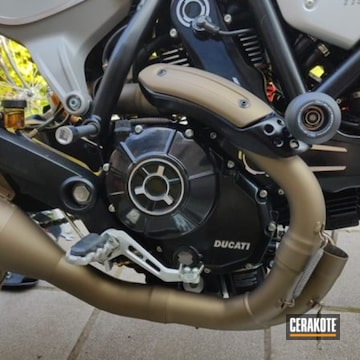 Ducati Motorcycle Exhaust Cerakoted Using Burnt Bronze
