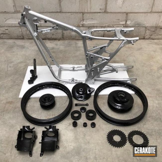 Cerakoted: Custom,Gloss Black H-109,Motorcycle Parts,Yamaha,Satin Aluminum H-151,Caferacer,Automotive,Motorcycle Frame,Custom Build