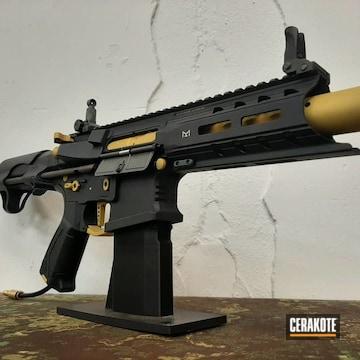 Airsoft Gun Cerakoted Using Graphite Black And Gold