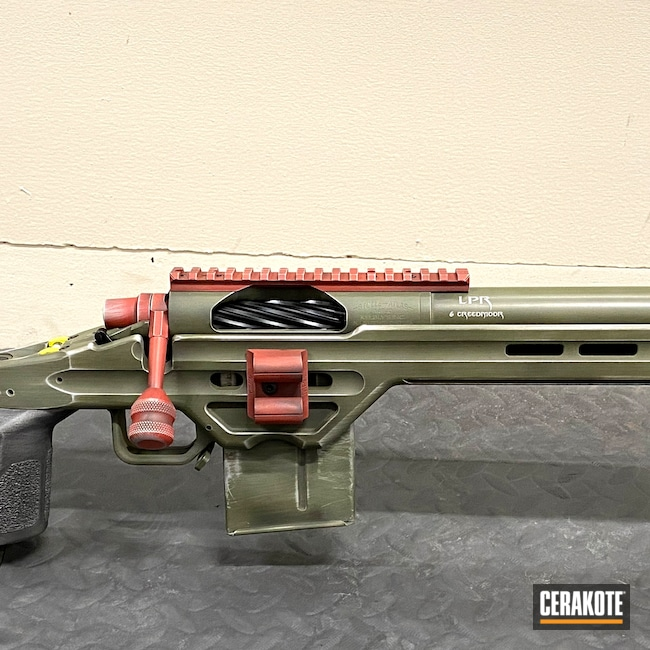 Cerakoted: S.H.O.T,6.5 Creedmoor,Bolt Gun,Corvette Yellow H-144,The Mandalorian,Bolt Action,Sniper Green H-229,Crimson H-221,Star Wars