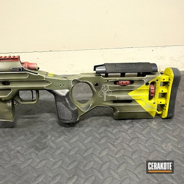 Mandalorian Themed Bolt Action Rifle Cerakoted Using Crimson, Sniper Green And Corvette Yellow
