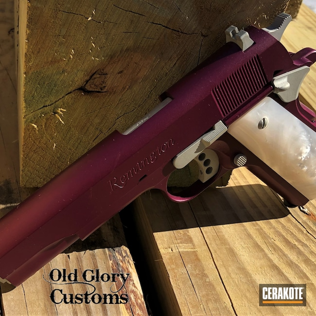 Cerakoted: S.H.O.T,Custom Grips,R1,BLACK CHERRY H-319,Remington,1911,Pearl,Bright Nickel H-157,45 ACP