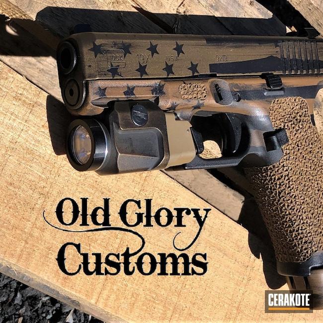 Cerakoted: S.H.O.T,9mm,Graphite Black H-146,Ral 8000 H-8000,Distressed Flag,Burnt Bronze H-148,Glock,Streamlight TLR 6,Streamlight,Grip Stipple,Ghost Flag,Glock 19X