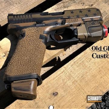 Battleworn American Themed Glock 19x Pistol Cerakoted Using Graphite Black, Burnt Bronze And Ral 8000