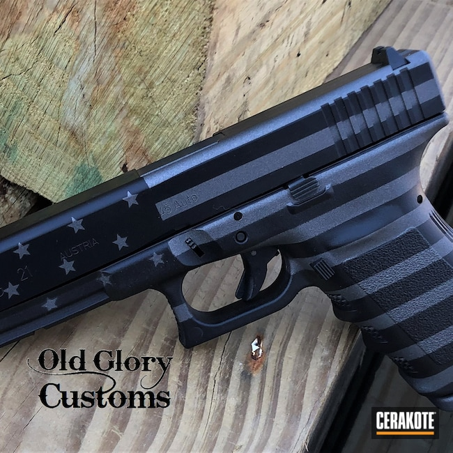Cerakoted: S.H.O.T,Sniper Grey H-234,Glock 21,Graphite Black H-146,Glock,American Flag,45 ACP,Ghost Flag