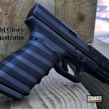 American Flag Themed Glock 21 Pistol Cerakoted Using Sniper Grey And Graphite Black