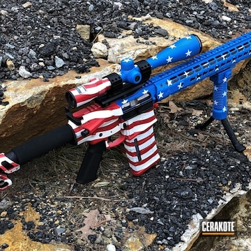 American Flag Themed Ar Build Cerakoted Using Snow White, Nra Blue And Firehouse Red