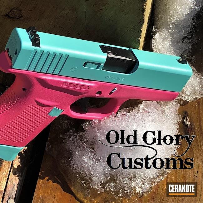 Cerakoted: S.H.O.T,9mm,Robin's Egg Blue H-175,Glock,Prison Pink H-141,Glock 43