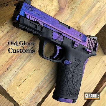 Smith & Wesson M&p Shield Pistol Cerakoted Using High Gloss Ceramic Clear And Gloss Black