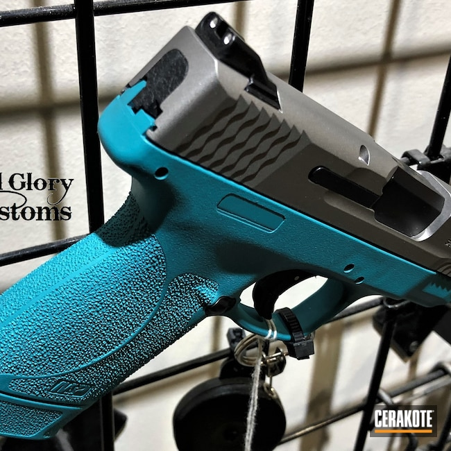 Cerakoted: S.H.O.T,AZTEC TEAL H-349,Smith & Wesson,Stainless H-152,45 ACP,M&P Shield