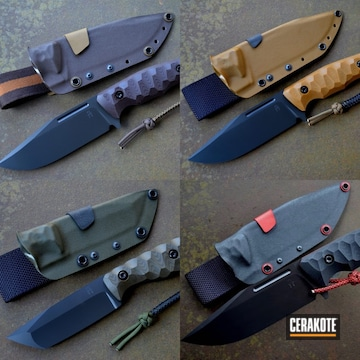 Custom Handmade Knives Cerakoted Using Armor Black And Graphite Black