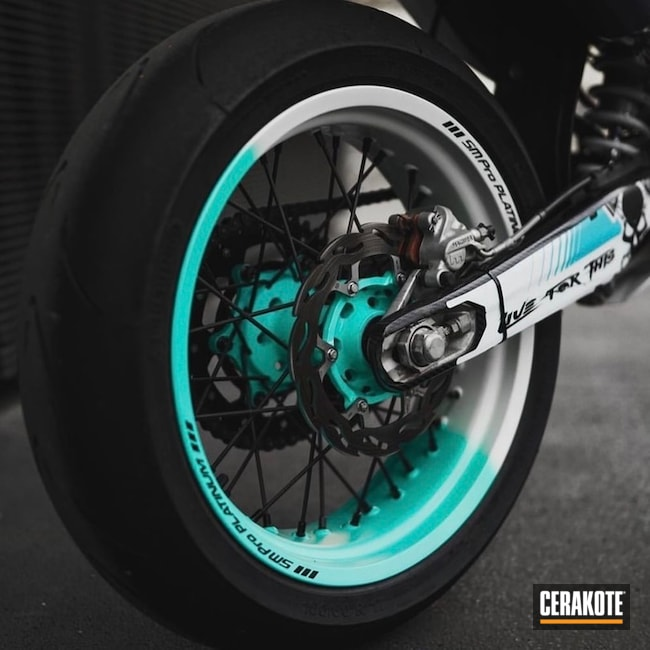 Custom Two Tone Smpro Motorcycle Wheels Cerakoted Using Stormtrooper White, Cobalt And Robin's Egg Blue