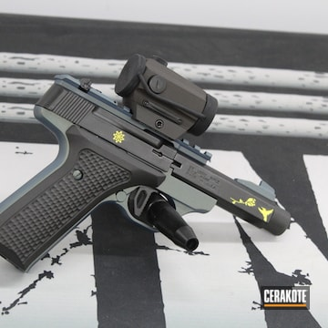 Browning Buck Mark Pistol Cerakoted Using Lemon Zest, Graphite Black And Northern Lights