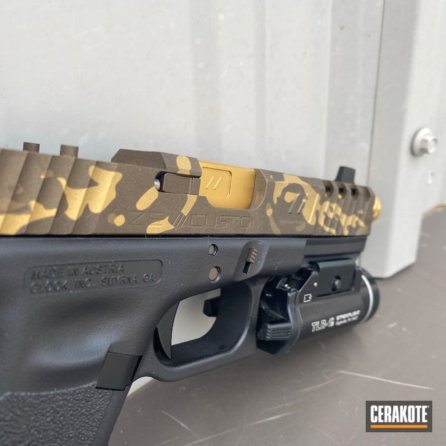 Cerakoted: S.H.O.T,9mm,MultiCam,Burnt Bronze H-148,Pistol,Glock,Midnight Bronze H-294,Gold H-122,Metallic Camo