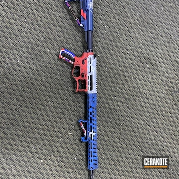 Texas Flag Themed Ar Cerakoted Using Kel-tec® Navy Blue, Bright White And Ruby Red