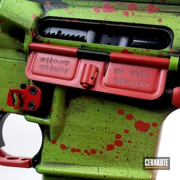 Spikes Tactical Ar Build Cerakoted Using Zombie Green And Graphite Black