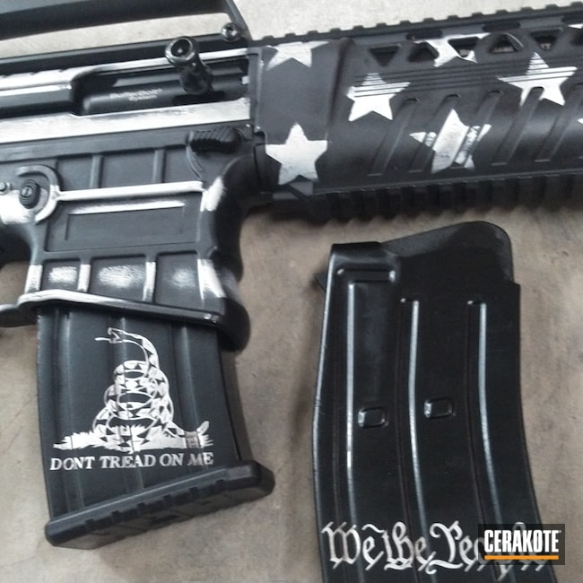 Cerakoted: S.H.O.T,AR Shotgun,Shotgun,Graphite Black H-146,Distressed,Distressed American Flag,Distressed Flag,BATTLESHIP GREY H-213,Semi-Auto