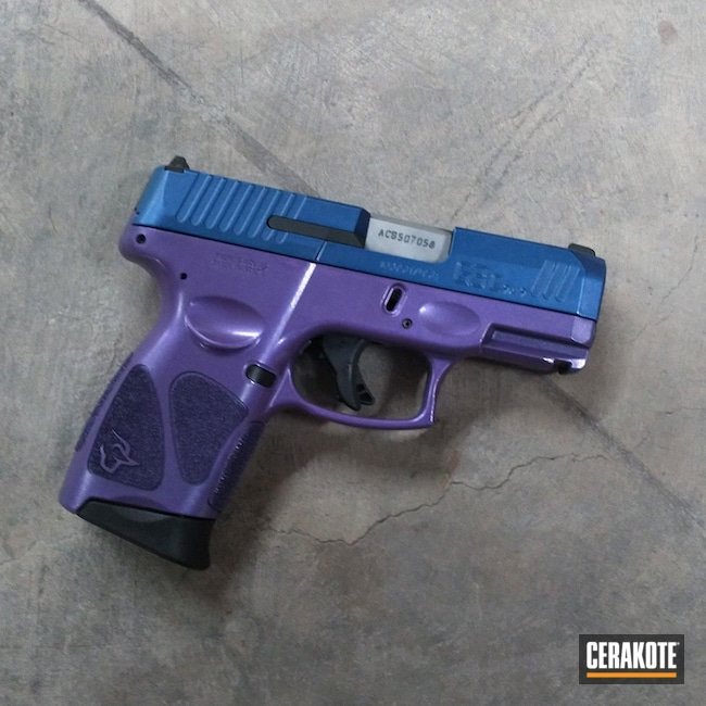 Cerakoted: S.H.O.T,9mm,NRA Blue H-171,Two Tone,Bright Purple H-217,Pistol,HIGH GLOSS ARMOR CLEAR H-300,Taurus,Semi-Auto,G3C