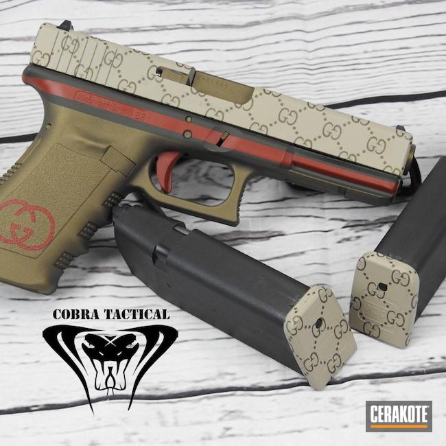 Cerakoted: S.H.O.T,.45,Glock 21,Desert Sand H-199,Burnt Bronze H-148,Crimson H-221,Glock,Gucci,Mil Spec Green H-264