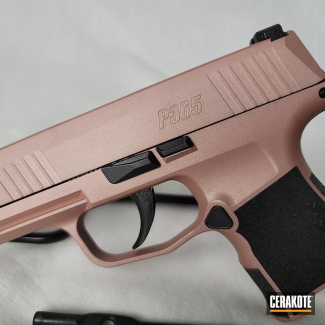 Cerakoted: S.H.O.T,p365,Armor Black H-190,Pistol,Sig Sauer,ROSE GOLD H-327,.9