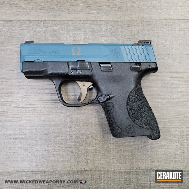 Cerakoted: S.H.O.T,Omega,Smith & Wesson,WW Theme,Burnt Bronze H-148,Jesse James Civil Defense Blue H-401,M&P Shield