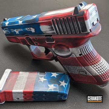 American Flag Themed Glock 26 Pistol Cerakoted Using Stormtrooper White, Usmc Red And Nra Blue