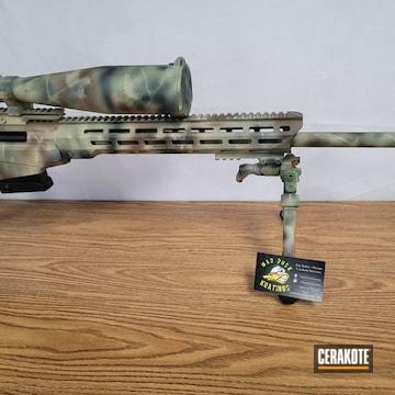 Custom Camo Tikka T3x Rifle Cerakoted Using Highland Green, Desert Verde And Chocolate Brown
