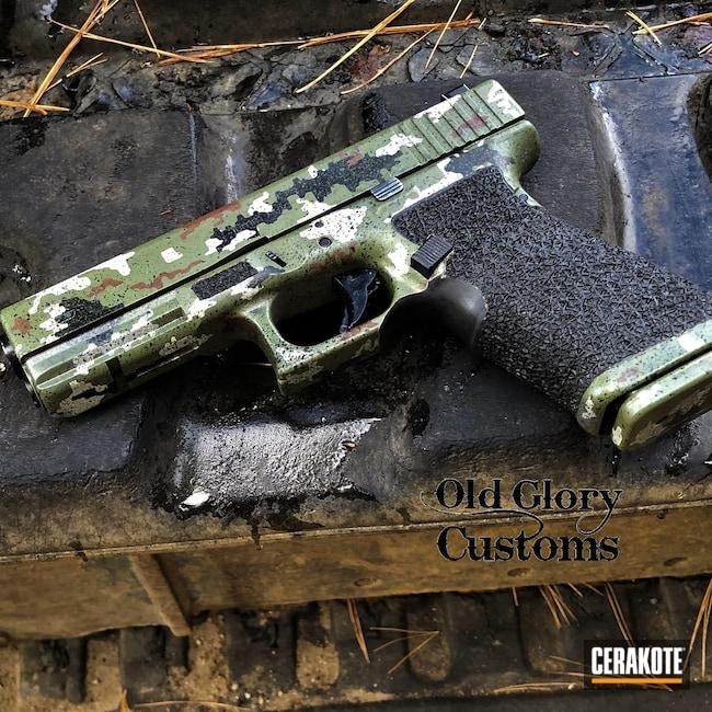 Cerakoted: S.H.O.T,10mm,MULTICAM® LIGHT GREEN H-340,Graphite Black H-146,DESERT VERDE H-256,Glock,MULTICAM® DARK BROWN H-342,Glock 20,Noveske Bazooka Green H-189,Custom Camo,MULTICAM® DARK GREY H-345