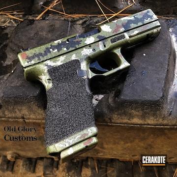 Custom Camo Glock 20 Pistol Cerakoted Using Noveske Bazooka Green, Multicam® Dark Grey And Multicam® Dark Brown