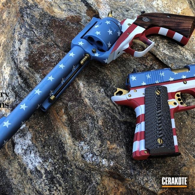 Cerakoted: S.H.O.T,Ruger Super Redhawk,HIGH GLOSS CERAMIC CLEAR MC-160,V10 1911,FROST H-312,American Flag,44 Magnum,HABANERO RED H-318,45 ACP,Gun Candy Ingot,POLAR BLUE H-326