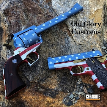 American Flag Themed Ruger Super Blackhawk Revolver And Springfield Amory V10 1911 Pistol Cerakoted Using Frost, Habanero Red And High Gloss Ceramic Clear