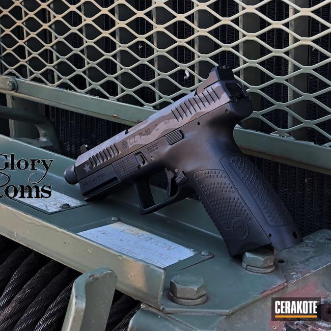 Cerakoted: S.H.O.T,9mm,CZ P10C,Graphite Black H-146,Tungsten H-237,American Flag,CZ,Ghost Flag