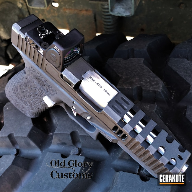 Cerakoted: S.H.O.T,Custom Mix,10mm,Graphite Black H-146,Distressed,Disruptive Grey,Tungsten H-237,Glock,Machined Slide,Custom Glock Slide,Glock 20,Slide Milling