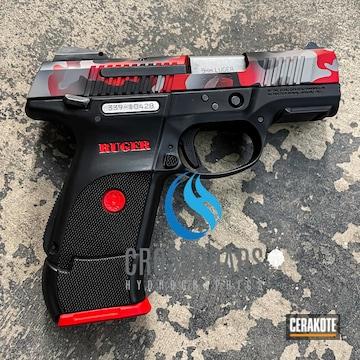 Custom Camo Ruger Sr9c Cerakoted Using Platinum Grey, Graphite Black And Firehouse Red