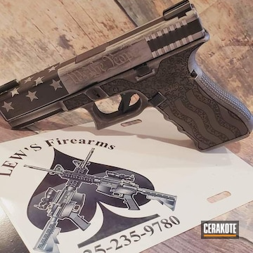 Distressed Glock Pistol Cerakoted Using Satin Aluminum And Graphite Black