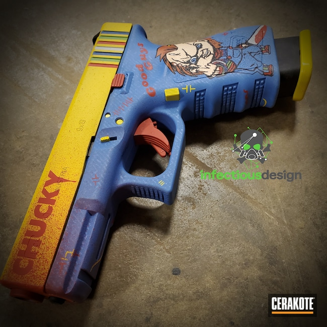 Cerakoted: S.H.O.T,Corvette Yellow H-144,NRA Blue H-171,FIREHOUSE RED H-216,Movie Theme,Graphite Black H-146,Horror,Zombie Green H-168,Glock