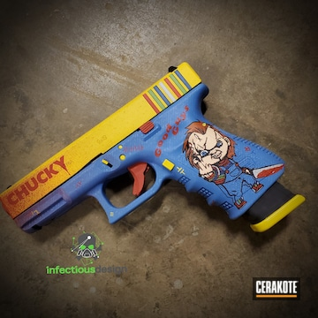 Chucky Movie Themed Glock Cerakoted Using Zombie Green, Corvette Yellow And Nra Blue