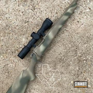 Custom Camo Bergara Bolt Action Rifle Cerakoted Using Desert Sage, Sniper Green And Magpul® Flat Dark Earth