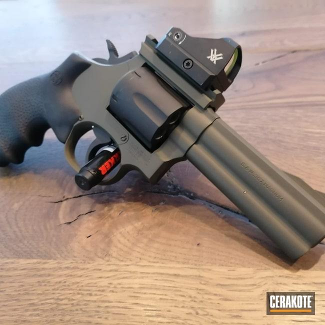 Cerakoted: S.H.O.T,.357,Smith & Wesson,Armor Black H-190,O.D. Green H-236