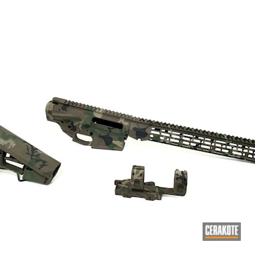 Woodland Camo Ar Builders Set Cerakoted Using Highland Green, Chocolate Brown And Graphite Black
