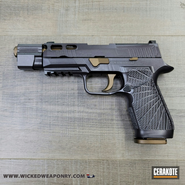 Cerakoted: S.H.O.T,Sig P320,Two Tone,P320,Burnt Bronze H-148,Sig Sauer,CARBON GREY E-240,Wicked Weaponry