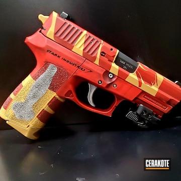 Iron Man Themed Sig Sauer Pistol Cerakoted Using Habanero Red, Graphite Black And Gold
