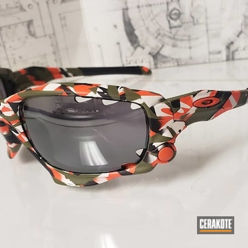 Custom Oakley Sunglasses Cerakoted Using Hunter Orange, Noveske Bazooka Green And Snow White
