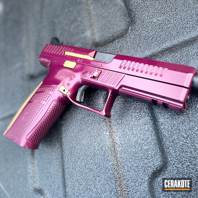 Cerakoted: S.H.O.T,9mm,BLACK CHERRY H-319,Two Tone,CZ,CZ P10F,HIGH GLOSS ARMOR CLEAR H-300,Gold H-122