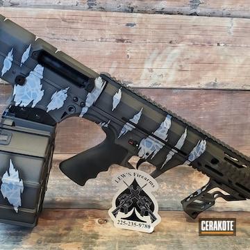 Reptile Camo Shotgun Cerakoted Using Polar Blue, Battleship Grey And Graphite Black