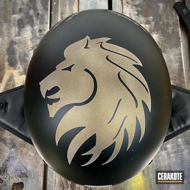 Cerakoted: Engine Cover,Motorcycle Helmet,Helmet,Automotive,Midnight Bronze H-294,Motorcycle