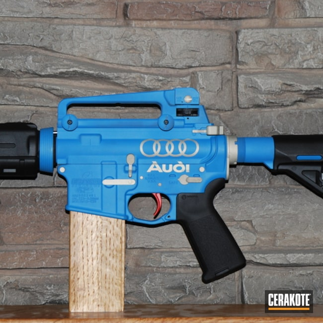 Custom Ar Cerakoted Using Bright Nickel, Sea Blue And Graphite Black