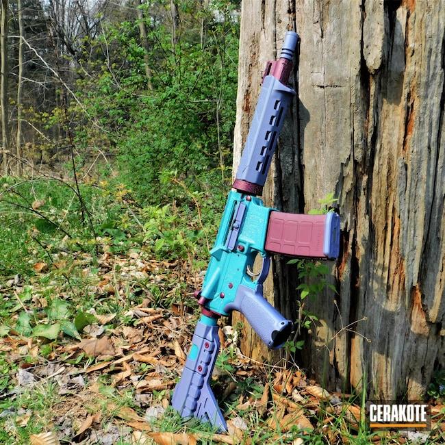 Cerakoted: S.H.O.T,Sparkles,BLACK CHERRY H-319,Pistol,.223,AR Parts,5.56,AR Build,Saint,AR Pistol,AZTEC TEAL H-349,AR,Sparkle,Springfield Armory,bling,CRUSHED ORCHID H-314,AR-15