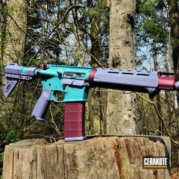 Multicolor Ar Build Cerakoted Using Black Cherry, Crushed Orchid And Aztec Teal